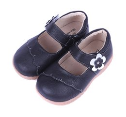 Wholesale Girls Leather School Shoes - girls leather shoes student shoes school black red pink formal kids shoes flowers chaussure nina sapatos SandQ baby