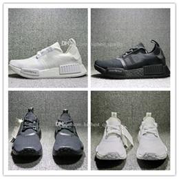 Wholesale Designer Real Leather - Cheap New NMD Japan Pack Triple White BZ0221 Triple Black BZ0220 Real Boost NMD R1 Primeknit Running Shoes for men designer shoe size 36-45