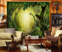 Wholesale Modern Window Blinds - Photo any size custom Luxury European Modern green forest custom curtain fashion decor home decoration for bedroom