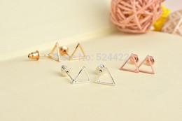 Wholesale Vintage Ruby Stud Earrings - Hollow Triangle Pattern Stud Earring for Women Tiny Triangle Vintage Stud Earrings 2017 brincos para as mulheres
