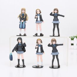 Wholesale K Mio - 6pcs set 12-15CM K-ON Akiyamn Mio Yui Hirasawa school uniform PVC Action Figure Toy