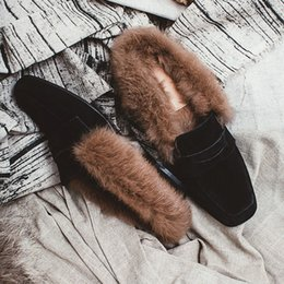 Wholesale Sheepskin High Slippers - 17930006 2017 new style brand leather rabbit fur genuine Sheepskin frosted winter Slipper high-end luxury Cowhide breathable fashion shoes