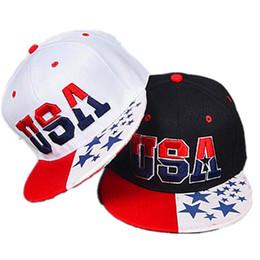 Wholesale Woman American Baseball Caps - 2017 New American Flag Snapback Hats Brand USA Letter Cotton Gorras Hip hop Snapback Caps Men Women Baseball Cap Bones