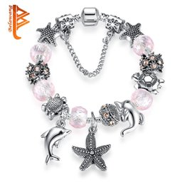 Wholesale Murano Glass Starfish - New Lovely Gift Pink Murano Glass Dolphin Starfish Beads Bracelet Fit Original 925 Silver Charm Bracelets Jewelry For Women Girl