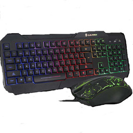 Wholesale Gaming Set - Backlit Gaming Keyboard and Mouse Set Waterproof Ergonomic Wired USB Powered for Gamer Desktop Laptop 2 Pieces a Set