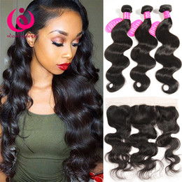 Wholesale Brazilian Remy Hair Closures - 13x4 Ear to Ear Lace Frontal Closure With Hair Bundles Brazilian Body Wave With Lace Frontal Remy Human Hair Weave Brazilian Virgin Hair