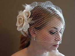Wholesale Vintage Birdcage Veils - Free Shipping Vintage Couture Ivory  White Champagne Bridal Veils &Hat of Rhinestones Tulle Blusher Veils wedding accessories 2017