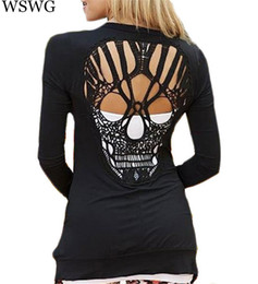 Wholesale Stylish Long Shirts For Women - Wholesale- New Fashion Skull T Shirt Women Stylish Scoop O Neck Long Sleeve Hollow Out Skull Pattern T-Shirt For Womens Tops Tees 60293