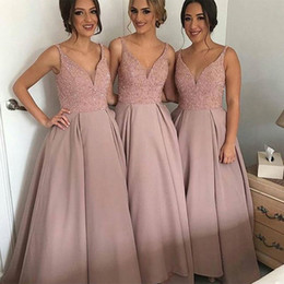 Wholesale fully dress - Hot Sale Bridesmaid Dresses Long Pink Wedding Guest Prom Dress Sexy V-Neck Fully Beaded Formal Party Gown 2017 Vestidos