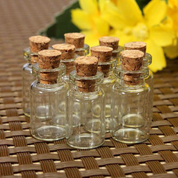 Wholesale Cute Glass Bottles - 10 pcs Cute Mini Clear Cork Stopper Glass Bottles Vials Jars Containers Small Wishing Bottle#ZH210