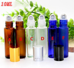 Wholesale Blue Bottle Essential Oils - Factory Price 10ml Amber Blue Clear Roller Glass Bottles For Essential Oils Empty Roll-on Bottle Metal Roller Ball 300pcs lot BY DHL