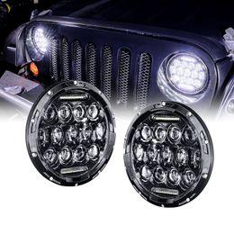 "Wholesale led black light headlamp - Pair 7 Inch Round Black Led Headlights With DRL For Jeep Wrangler Jk Tj Lada 4x4 7 "" Led Headlamp Motorcycle For Harley Davidson"