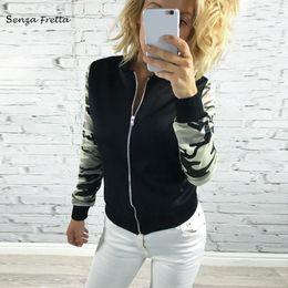 Wholesale Women Camo Shorts - Apparel Outwear Coat New 2016 Long Sleeve XXL Zipper Jeans Camo Camouflage Army Jacket Women NS551