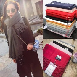 Wholesale Cashmere Wrap Scarf - 14 colors AC Brand Designer Lady Scarf Fashion Women Winter Scarf pashmina Cashmere Scarves Fashion Women Long Plain Scarf Wrap Shawl D773