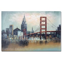 Wholesale Modern Painters Paintings - Skilled Painter Hand-painted High Quality Modern Bridge and Skyscraper Oil Painting on Canvas Abstract New York Oil Painting