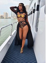 Wholesale Sexy One Piece Female Swimsuit - Bikini women summer African connection bandage hollow out print swimsuit push up female sexy string high waist swimwear