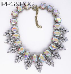 Wholesale Stainless Steel Collar Luxury - Wholesale- PPG&PGG Women Fashion Jewelry AB Shine Leaf Crystal rhinestone Luxury statement necklace choker collar Hot