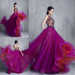 Wholesale Evening Tony - Elegant Tony Chaaya 2016 Prom Dresses Beaded Applique Evening Gowns Sheer Neck Plus Size Party Dress