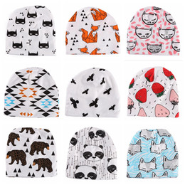 Wholesale Wholesale Tiger Hats - Baby Cotton Beanie INS Soft Hats Newborn Christmas Caps Cartoon Fox Hat Animal Print Cap Winter Panda Tiger Fruit Bonnet Caps 300pcs OOA2754