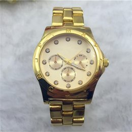 Wholesale Gold Inlay Jewelry - Fashion casual Rhinestones Diamond inlay scale dial Quartz Watches women luxury Quartz Watches stainless steel Watches Free Shipping