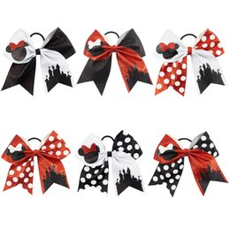 Wholesale Girls Dotted - New 7 inch Large Glitter Cheer Bows Handmade Cute Mouse Castle Polka Dots Bow with Ponytail Hair Holders for Cheerleading Girls