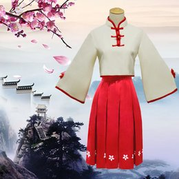 Wholesale Chinese Dress Cosplay - VOCALOID 3 China Project Luotianyi Luo Tianyi Sesame Paste the Chinese Dress Full Set Cosplay Costumes Cheongsam Tops Red Skirt