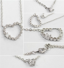 Wholesale Swarovski Elements Hearts - Swarovski Elements Crystal Love Heart Pendant Necklace Fashion Necklace 18K White Gold Plated Make With Austrian Crystals Wedding Jewelry