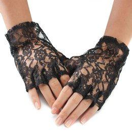 Wholesale Black Lace Gothic Glove - Wholesale- Hot New Party Sexy Dressy Women Lady Lace Gloves Mittens for Accessories Gothic Style Half Fingerless Short Length Black White