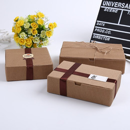 Wholesale Wholesale Handmade Papers - 50 pcs corrugated Kraft Paper Box Jewel Gift Soap Box Paper Packaging Gift Box,Wedding Handmade food package