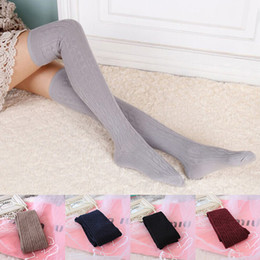 Высокие шерстяные чулки онлайн-Wholesale-New Woman Wool Braid Over Knee Socks Thigh Highs Hose Stockings Twist Warm Winter