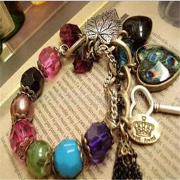 Wholesale Luxury Jade Jewelry - Vintage Retro Luxury Peach Peacock Beads Multi Element Bracelet Bangle Bohemian Romantic Wristband for Women Fashion Jewelry Accessories