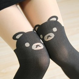 Wholesale tattoo knee socks - Wholesale- 2016 NEW Bear Print Knee Thigh-High High Quality Tattoo Stockings Pantyhose Leggings Summer Dress accessories