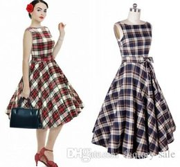 Wholesale Cheap Casual Pleated Dress - In Stock Cheap 2016 Hot Audrey Hepburn 1950 Rockabilly Casual Dresses Ball Gown Vintage Plaid Style Slim Knee Length Women DressesIn Stock