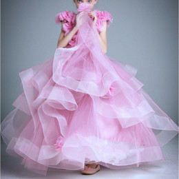 Wholesale Teenager Pageant Dresses - 2017 Pink Princess Flower Girls Dresses Tulle Kids Clothes Cap Sleeve Teenager Girl Pageant Dress Ruffle