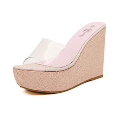 Wholesale Thick Platform Wedge Sandals - New Fashion Summer Thick Bottom High-heeled Platform Fish Mouth Waterproof Female Sandals A-word Wedge Slippers Shoes 34-40