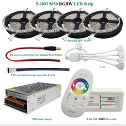 Wholesale Solar Powered Net Lights - DC12V LED Light RGBW RGBWW 5050 Led Strip IP65 IP20 Led Flexible Tape+2.4G RF Remote Controller+Power adapter Kit 20M 15M 10M 5M