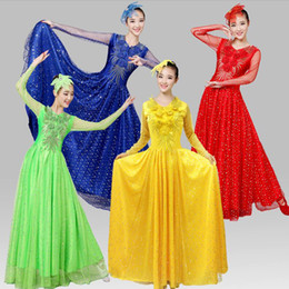 Wholesale Chinese Folk Dance Costumes - Women Party Stage Costume chinese Ancient Traditional Plus Size Dress Chinese folk Dance Costume Folk Dance Costume Fan Dance costumes Dress
