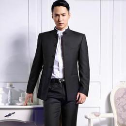 All ingrosso Custom made abiti maschili moda sposo smoking smoking nero collo di mandarino nozze formale occasioni d affari vestiti (giacca pantaloni)