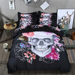 Wholesale King Black Floral Comforter - Wongsbedding Black Floral Skull Bedding Set Queen Size Bed Quilt Duvet Cover Set 4PCS New Design Bedclothes Bedlinen Beddings