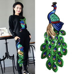 Wholesale Free Shipping Iron Patches - Peacock Iron-On Embroidered Cloth Shirt Bag Patch Applique Motif Garment Decoration DIY Craft Fashion high quality free shipping