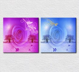 Wholesale Art Modern Oil Painting Purple - 2pcs set Canvas printed Modern decorative oil painting on canvas wall art Purple red and Light blue rose for bedroom wall