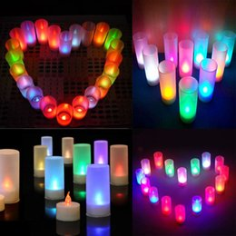 Wholesale Electronic Candle Light Sensor - 7 Color Sound Sensor Family Romantic Led Electronic Candle Night Light Flameless Smokeless Safe Use For Chrismas Decoration ZJ0495