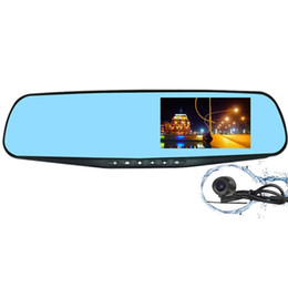 Wholesale Post Degree - 4.3 Inch Blue Mirror Anti-Glare Ultra HD Display Dual Lens Rearview Mirror Car DVR Parking Monitoring Detection One Key Lock Free POST