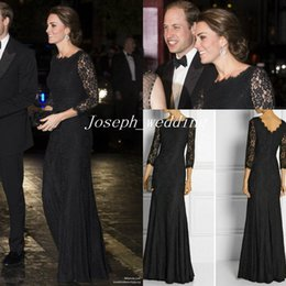 Wholesale Kate Middleton Sleeve Dresses - DVF Zarita Black Lace Dress Kate Middleton to the Royal Variety Performance Long Evening Dress Women Gown Free Shipping CD067