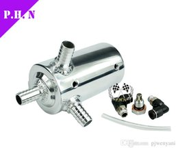 "Wholesale Fuel Tank Kit - Universal 3 inch Alloy Polished Chrome Oil Catch Can Breather fuel Tank RESERVOIR Kit Height 138mm   19mm 3 4"" BARB in stock ready to ship"