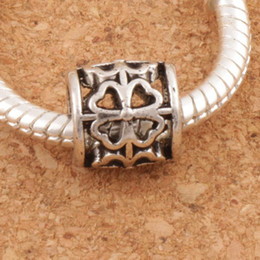 Wholesale Flower Tubes - Tube Clover Round Metal Big Hole Beads 122pcs lot 9x9x9 mm Antique Silver Fit European Bracelets Jewelry DIY L1392