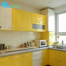 Wholesale Cabinet Solid - Wholesale- DIY Decorative Films Waterproof Vinyl Self adhesive Wallpaper For Kitchen Cabinet Bar Furniture Renovation Stickers Waterproof