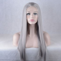 Wholesale Silver Wigs For Women - Synthetic hair beautiful women's silver gray long straight synthetic lace front wigs with baby hair for fashion women