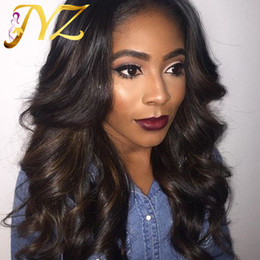 Wholesale Peruvian Brown 24 - Loose Wave Full Lace wigs Natural Color Free Part Wave Human Hair Wig Lace Front Wig Loose Wave Brazilian Hair Full Lace Wigs