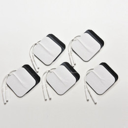 Wholesale adhesive electrodes pad - 10pcs lot Self Adhesive Reusable Tens Electrode Pad Gel Electrodes Digital Therapy Machine Massager Muscle Stimulator 2mm Plug